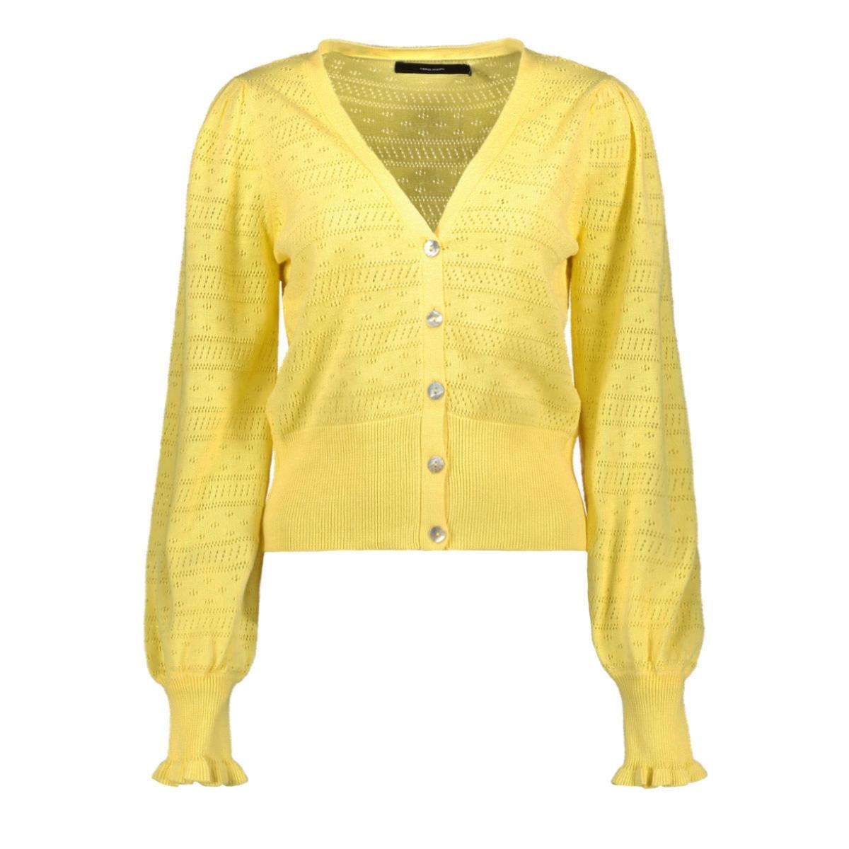 vmviolapuff ls v-neck cardigan 10227575 vero moda vest pale banana