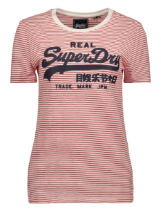Superdry T-shirt LOGO STRIPE ENTRY TEE W1010025A ECRU SLUB STRIPE