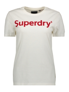 Superdry T-shirt REG FLOCK ENTRY TEE W1010023A CHALK WHITE