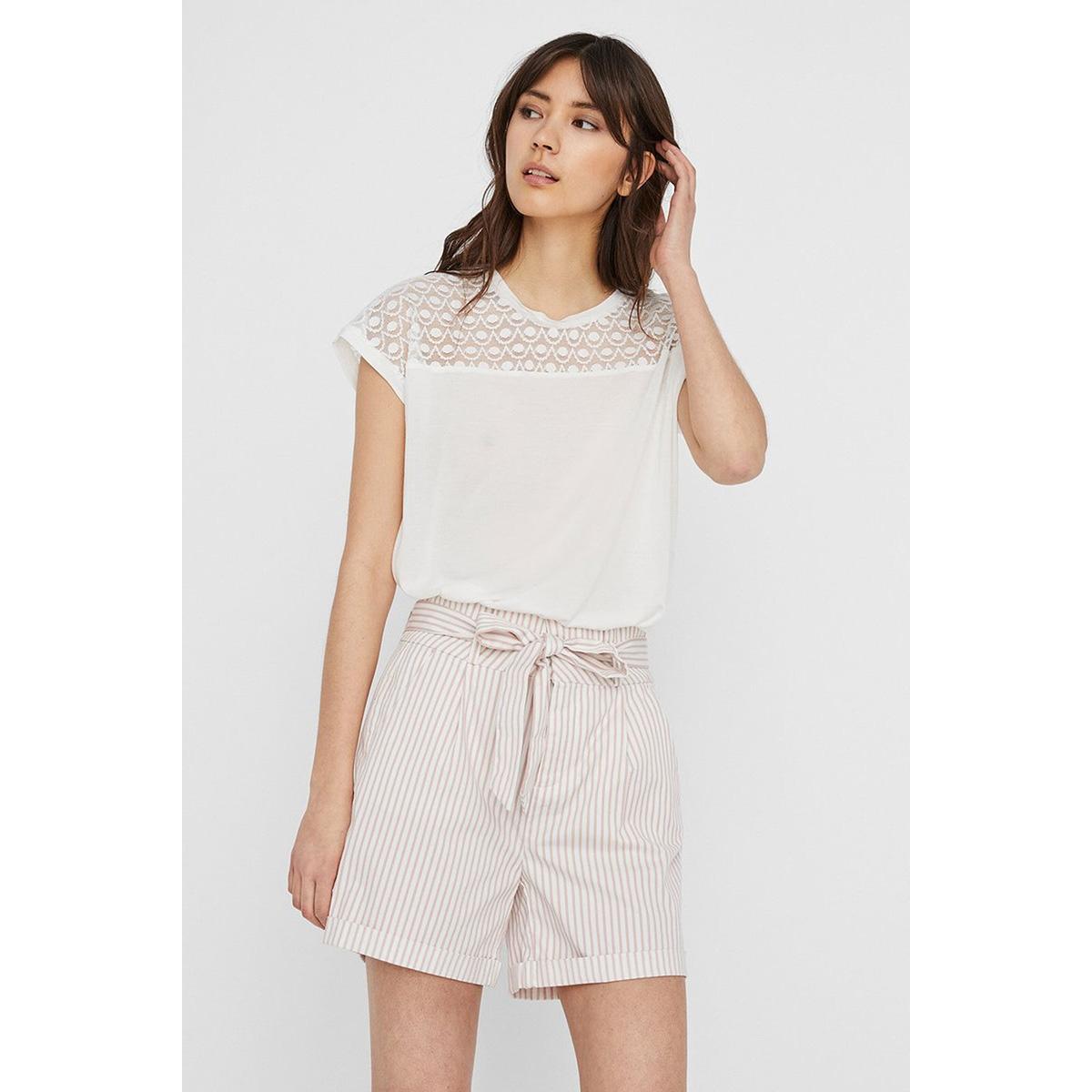 vmsofia ss lace top ga noos 10231073 vero moda t-shirt snow white