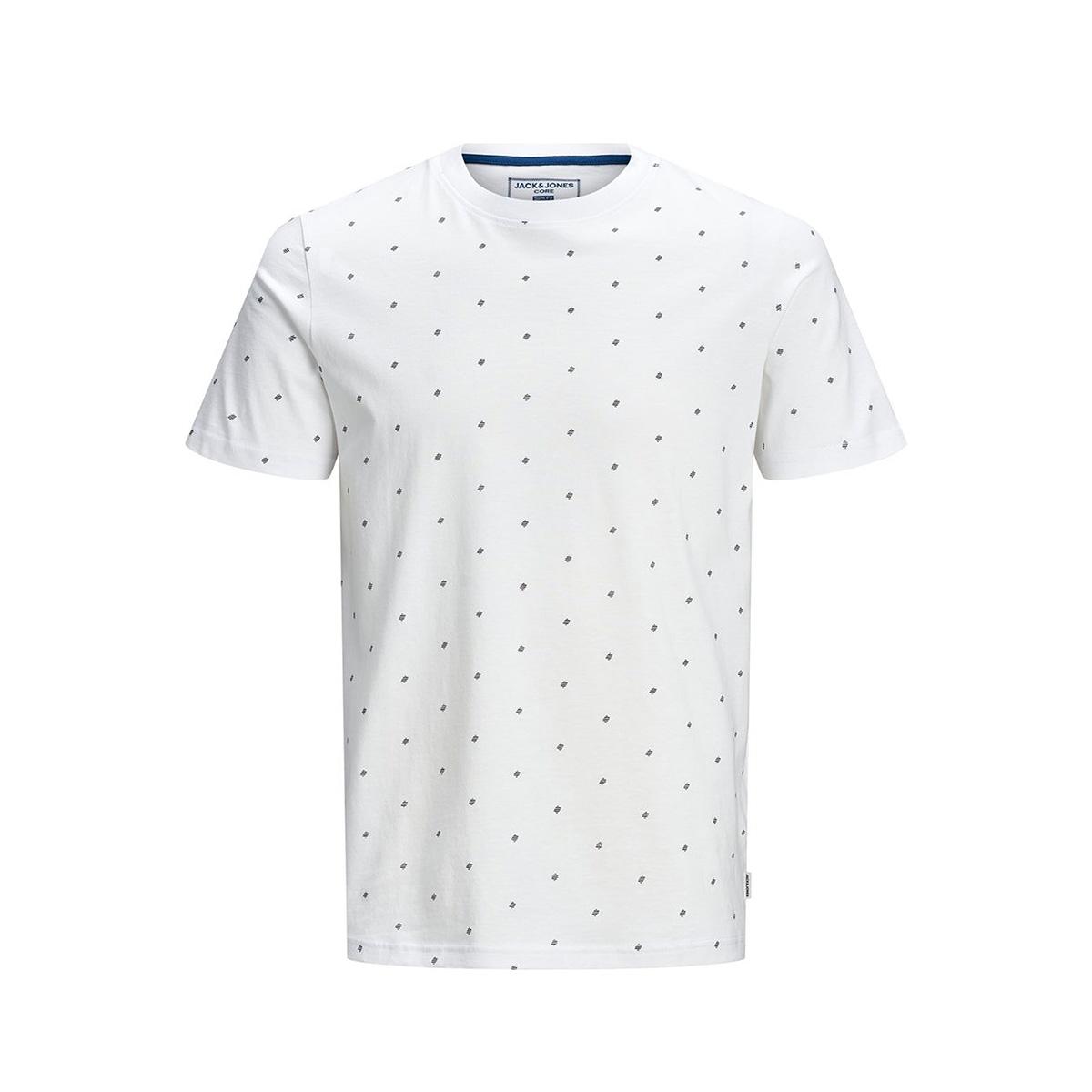 jcocarl aop tee ss crew neck 12167243 jack & jones t-shirt white melange/slim