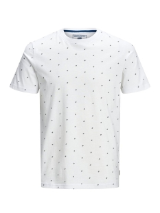 Jack & Jones T-shirt JCOCARL AOP TEE SS CREW NECK 12167243 White Melange/SLIM