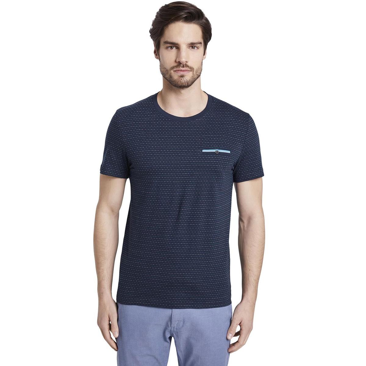 t shirt met gestructureerd patroon 1018131xx10 tom tailor t-shirt 10334