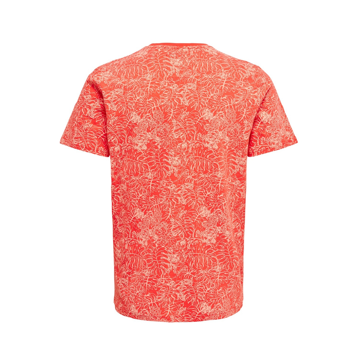 onscaj life slim aop  tee nf 6209 22016209 only & sons t-shirt hot coral