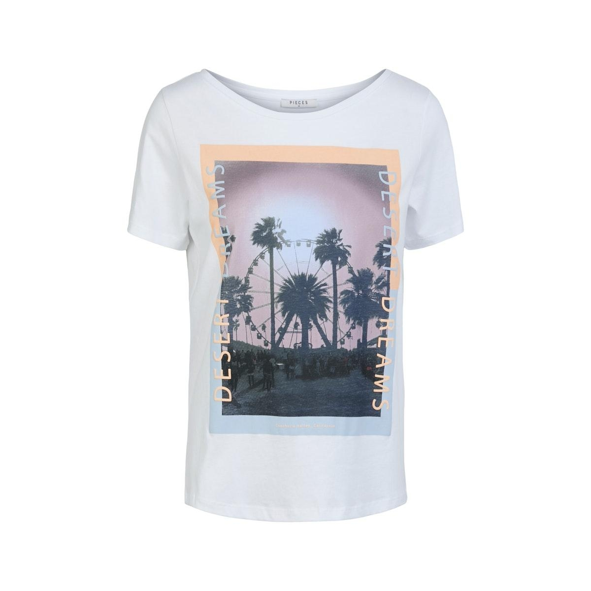 pcasali ss print tee bc 17103964 pieces t-shirt bright white/desert dre