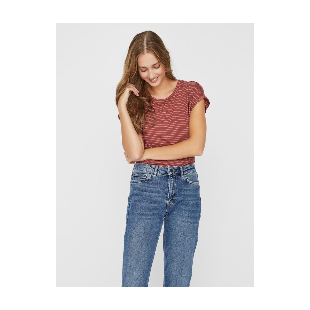 vmava plain ss top rebec stripe ga 10228458 vero moda t-shirt marsala/rebecca