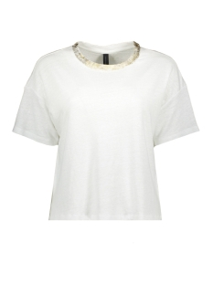 10 Days T-shirt CROP TEE GOLD 20 742 0201 WHITE