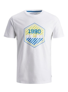 jcofriday-disc tee ss crew neck 12165654 jack & jones t-shirt white/slim