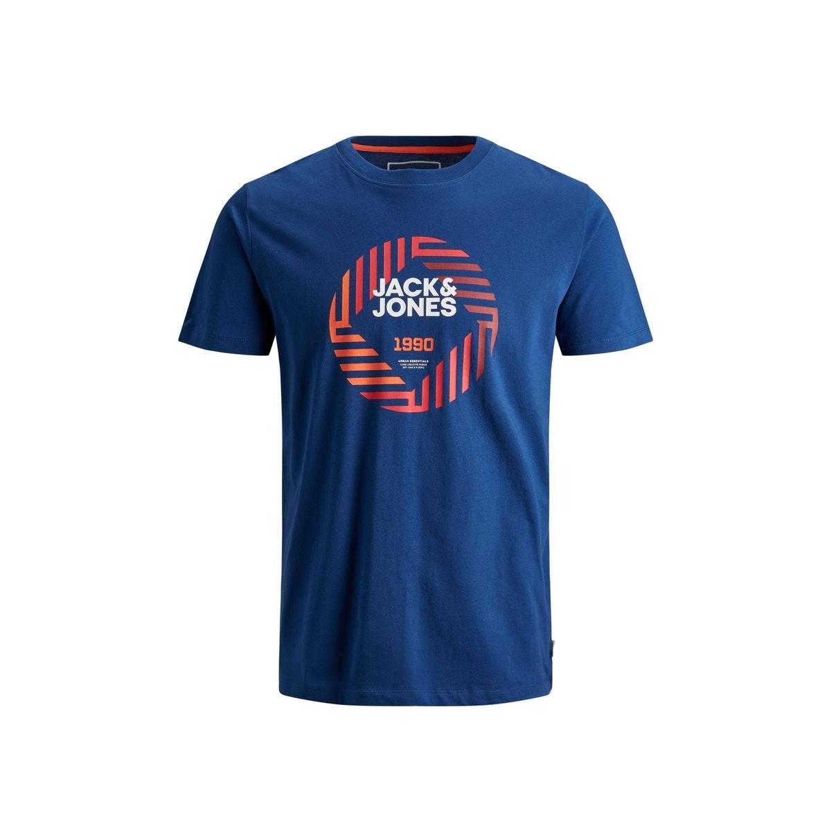 jcofriday-disc tee ss crew neck 12165654 jack & jones t-shirt navy peony/slim