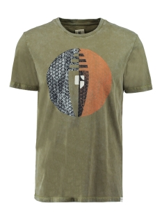 Garcia T-shirt T SHIRT MET OPDRUK P01209 1805 Washed Army