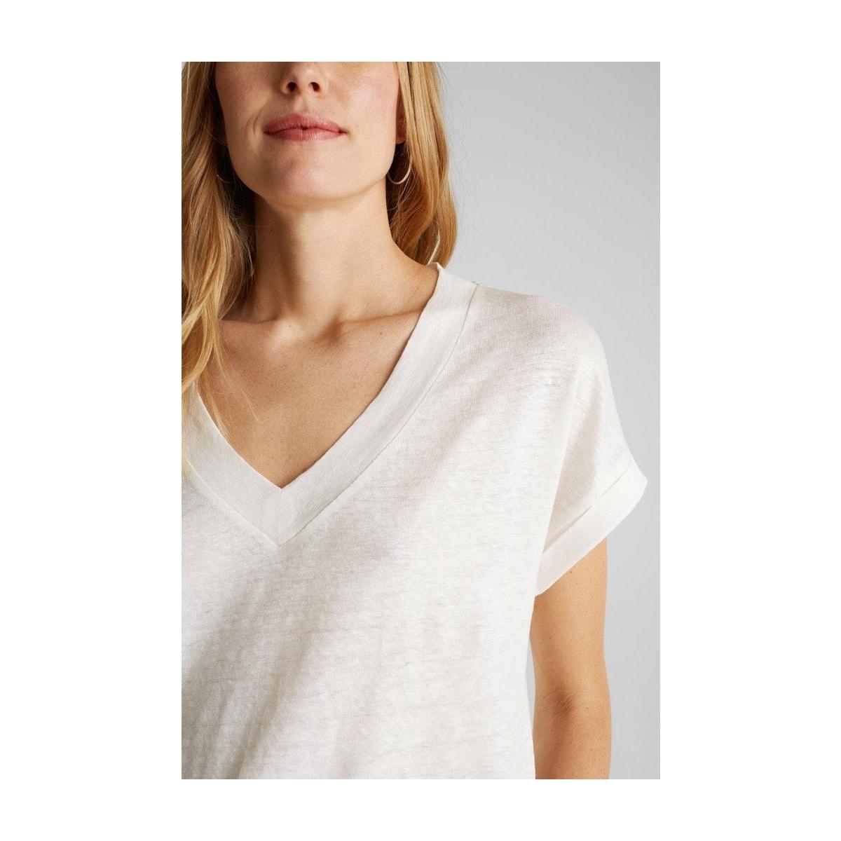 shirt met v hals en strepen 030eo1k303 esprit collection t-shirt e111