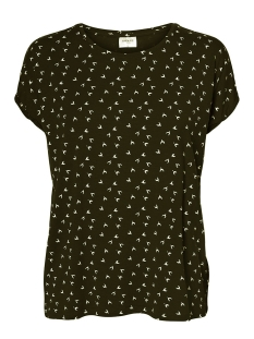 Vero Moda T-shirt VMAVA PLAIN SS TOP MULTI AOP GA 10214302 BLACK/POLLY