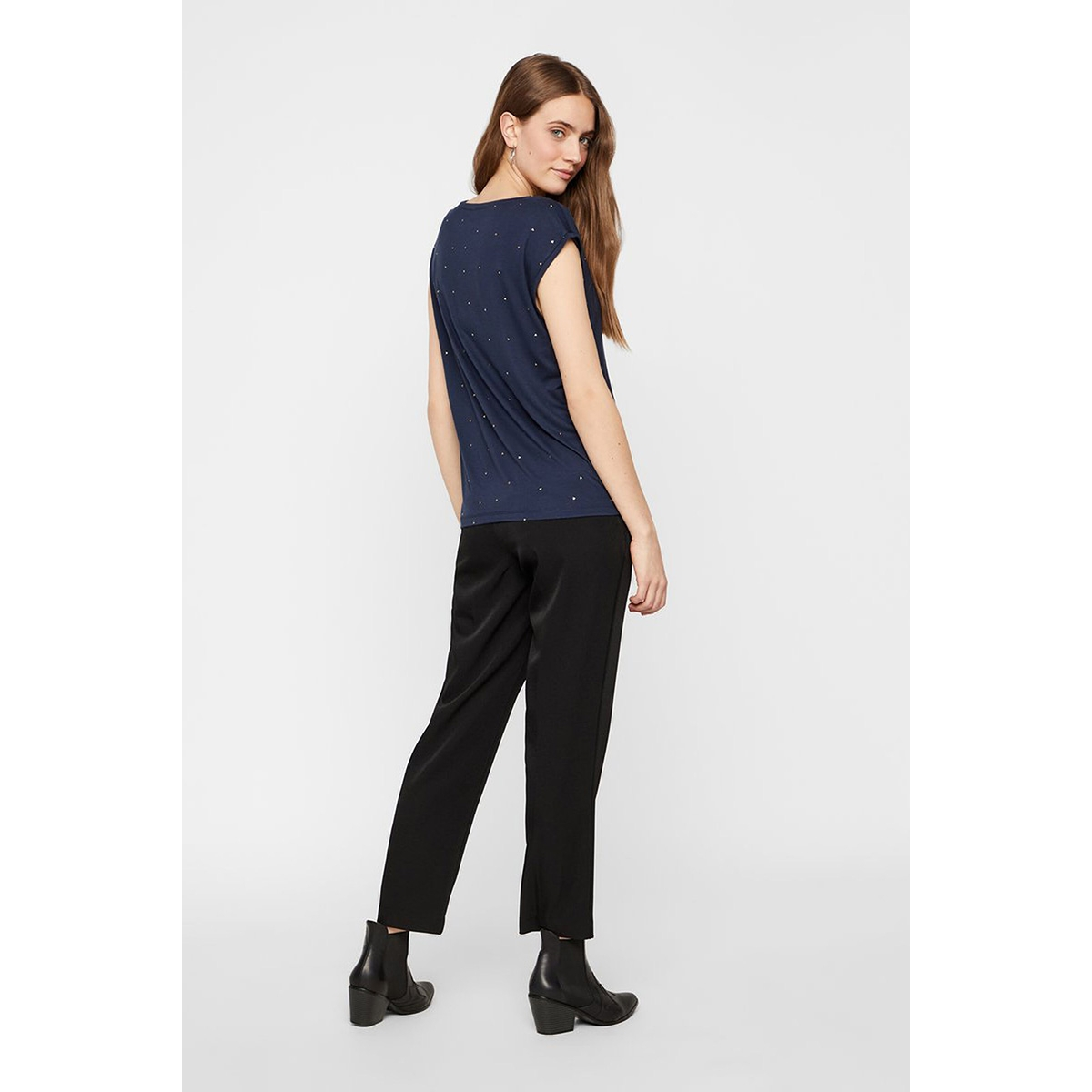 pcbilly ss t-shirt aop foil triangl 17102891 pieces t-shirt navy blazer/foil