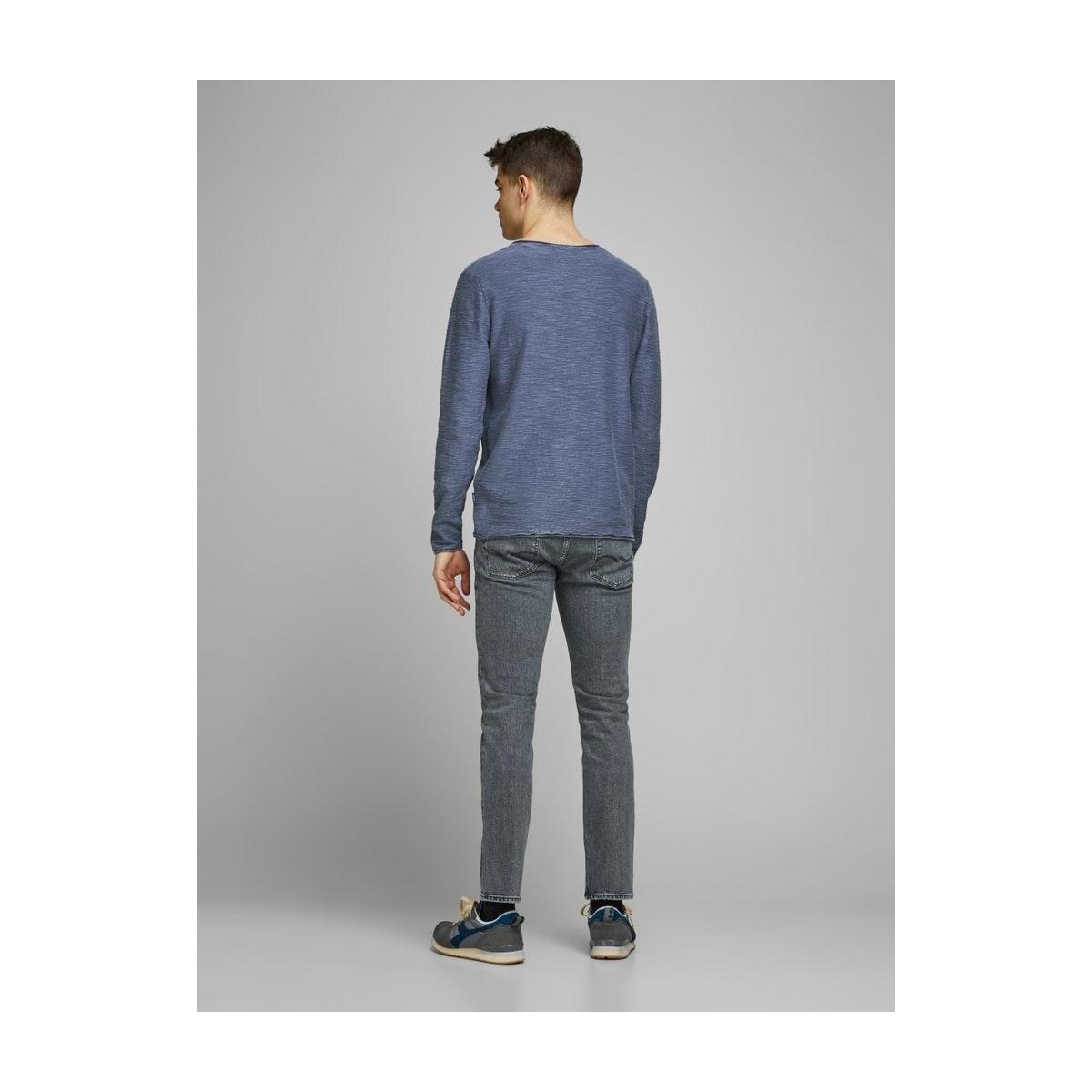 jorniels organic knit crew neck 12170772 jack & jones trui ensign blue/knit fit