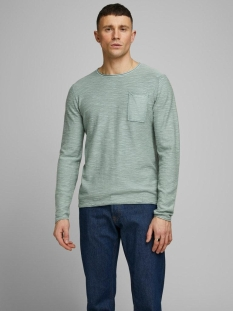 jorniels organic knit crew neck 12170772 jack & jones trui green milieu/knit fit