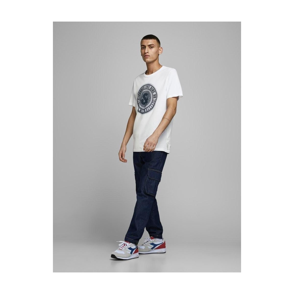jcologo-universe tee ss crew  neck 12172273 jack & jones t-shirt white/slim/uni