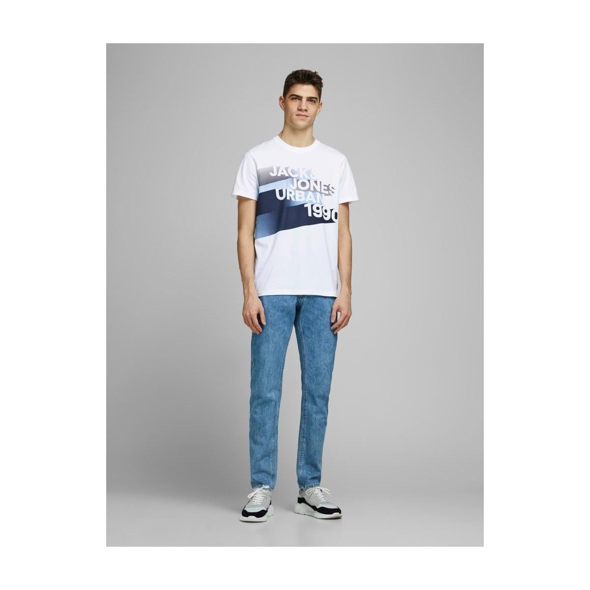 jcologo-universe tee ss crew  neck 12172273 jack & jones t-shirt white/slim/logo