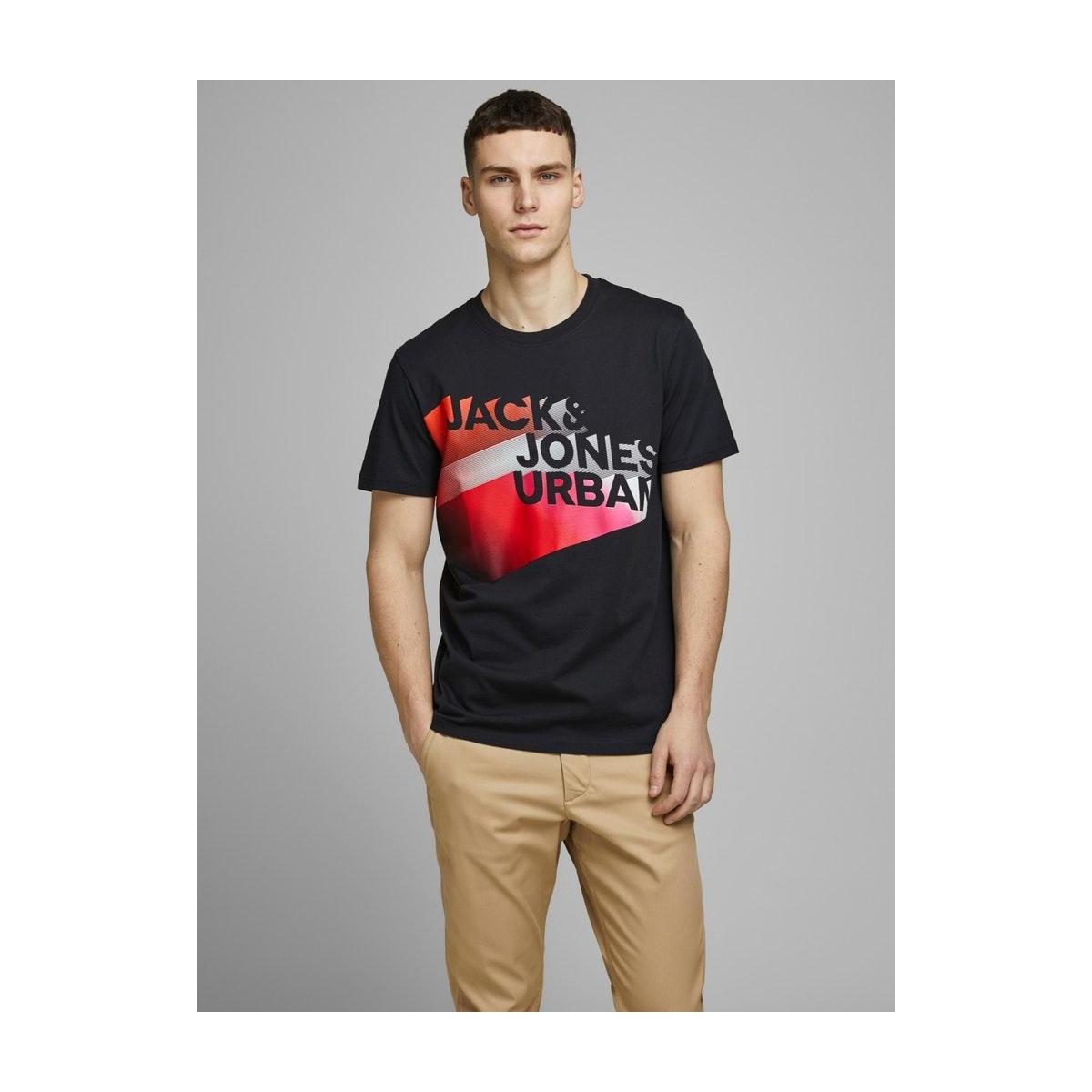 jcologo-universe tee ss crew  neck 12172273 jack & jones t-shirt pirate black/slim/logo