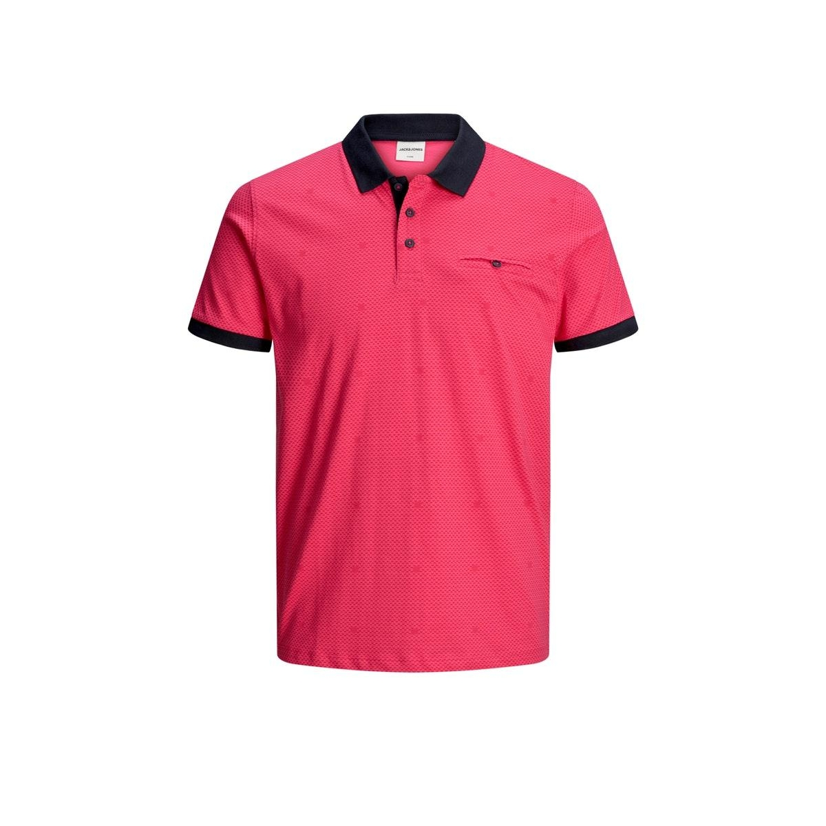jcobarbar polo ss nl 12174754 jack & jones polo raspberry rose/slim