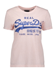 Superdry T-shirt VL GLITTER ENTRY TEE W1010113A CHALK PINK SNOWY