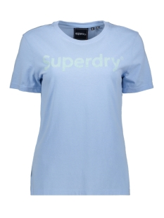 Superdry T-shirt REG FLOCK ENTRY TEE W1010134A LIGHT CHAMBRAY