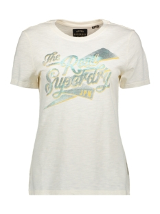 Superdry T-shirt REAL FOIL ENTRY TEE W1010137A COUTURE WHITE SLUB