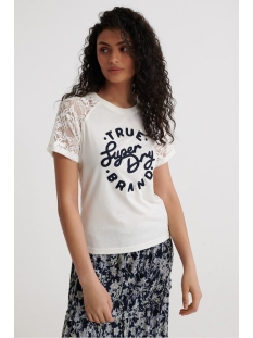 Superdry T-shirt SUMMER LACE RAGLAN TEE W6010274A CHALK WHITE