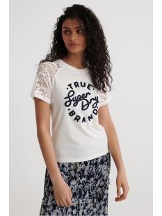 Superdry T-shirt SUMMER LACE RAGLAN TEE W6010274A CHALK WHITE