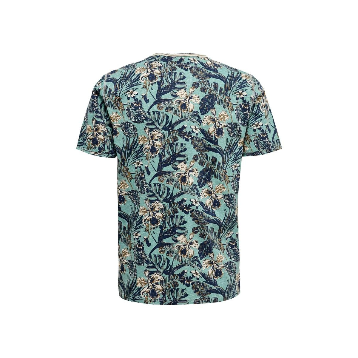 onscan life slimraw edge aop tee nf 6215 22016215 only & sons t-shirt mineral blue