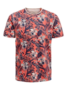 Only & Sons T-shirt ONSCAN LIFE SLIMRAW EDGE AOP TEE NF 6215 22016215 Hot Coral