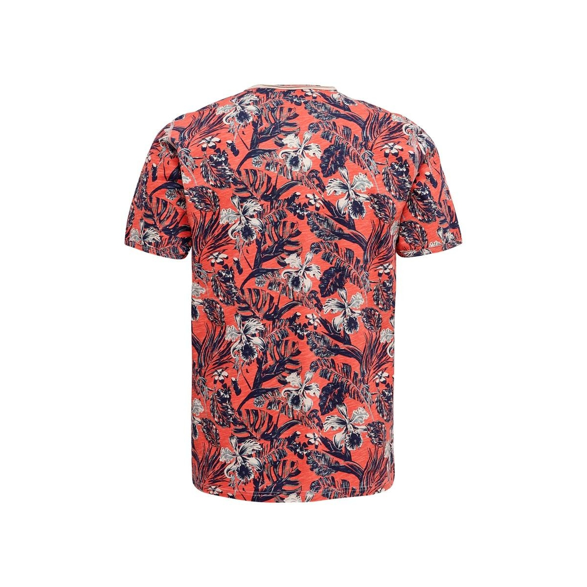 onscan life slimraw edge aop tee nf 6215 22016215 only & sons t-shirt hot coral