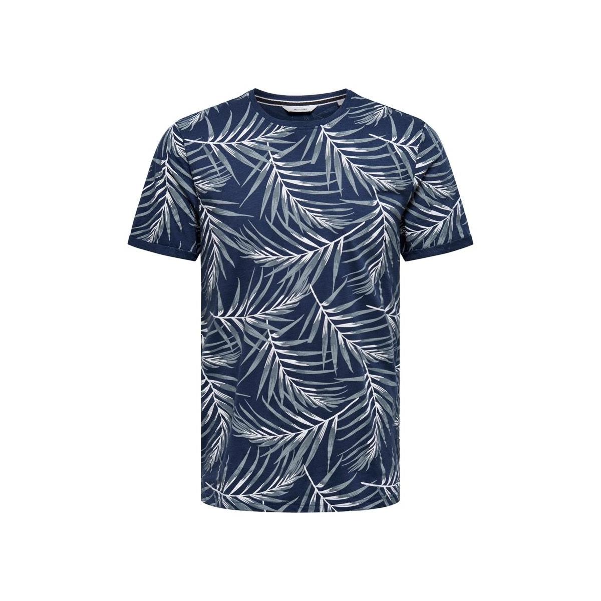 onsiason slim ss aop tee noos 22016762 only & sons t-shirt dress blues