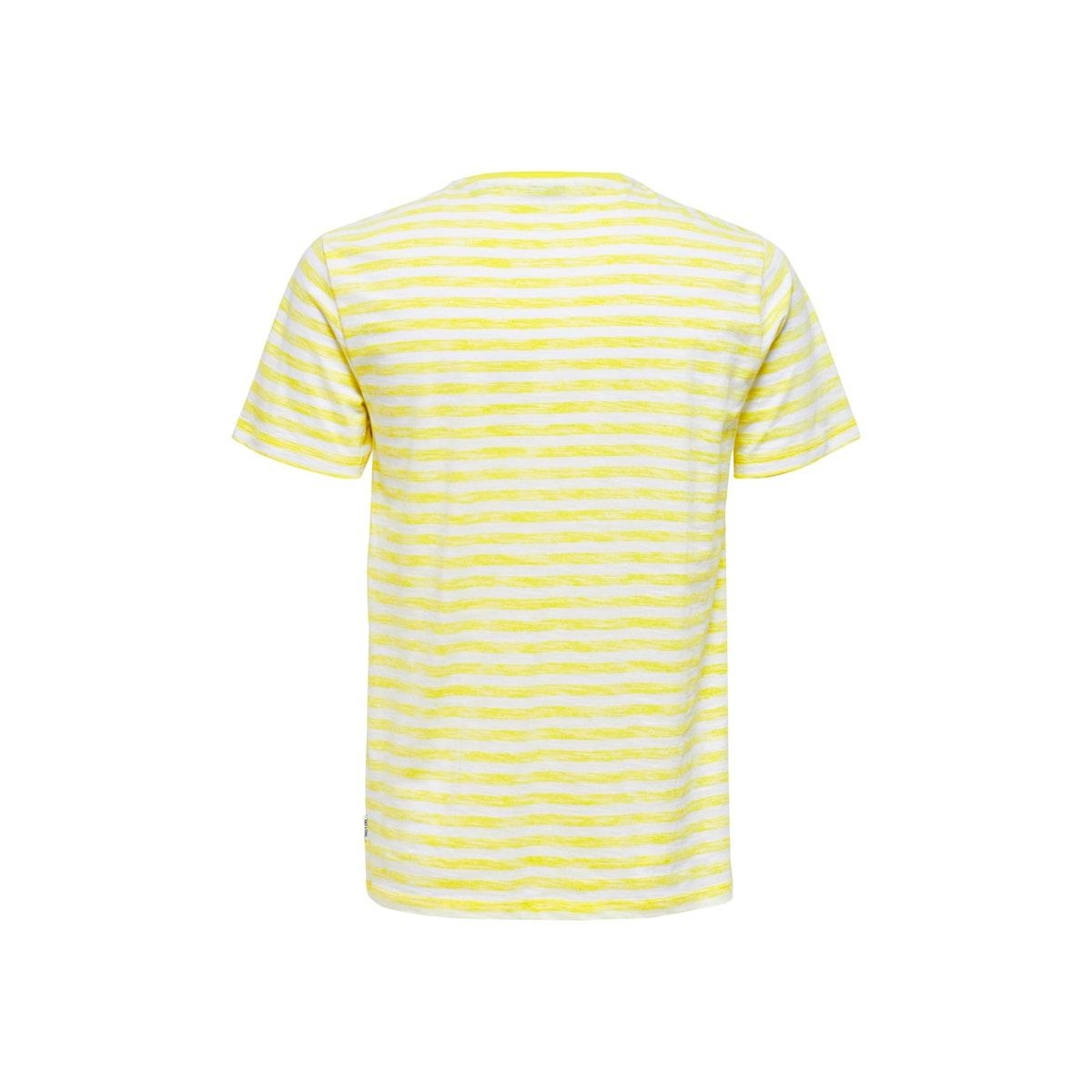 onsignite slim ss stripe tee 22016734 only & sons t-shirt white/limelight
