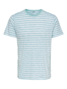 Only & Sons T-shirt ONSIGNITE SLIM SS STRIPE TEE 22016734 WHITE/AQUATIC