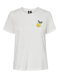 Vero Moda T-shirt VMSAFINAFRANCIS SS TOP BOX JRS GA 10232037 Snow White/LEMON