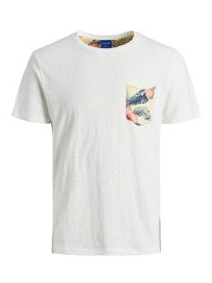 jorelipocket organic tee ss crew ne 12172037 jack & jones t-shirt cloud dancer/slim