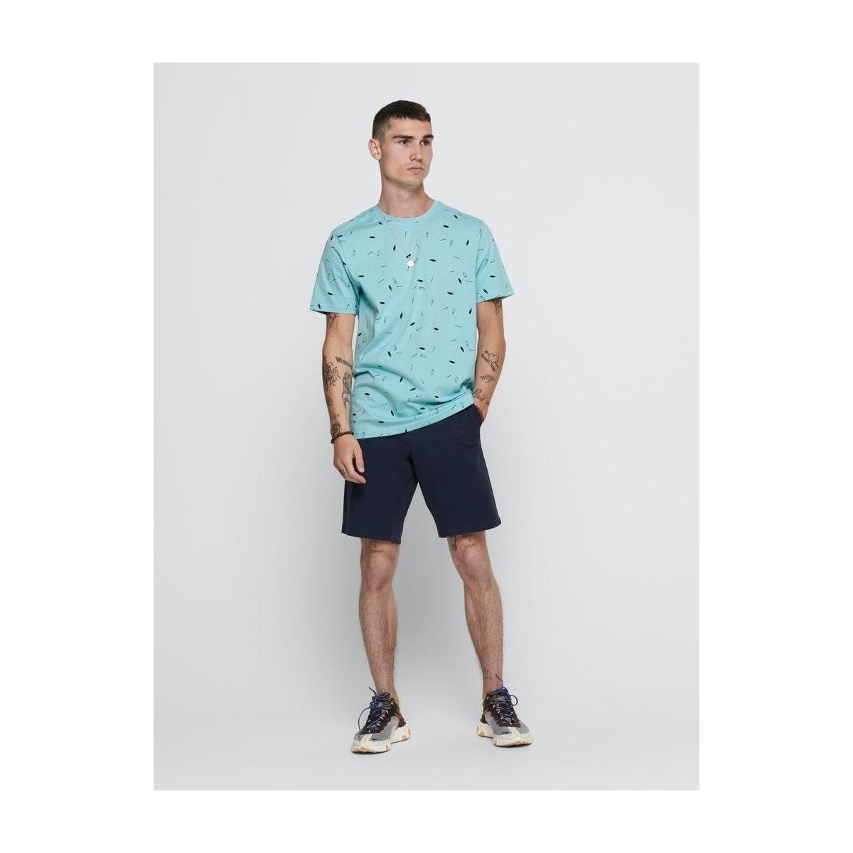 onsinoel slim ss aop tee 22016920 only & sons t-shirt aquatic/ dress blue
