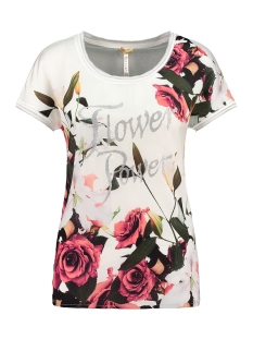 Key Largo T-shirt FLOWER POWER WT00200 1001 OFF WHITE