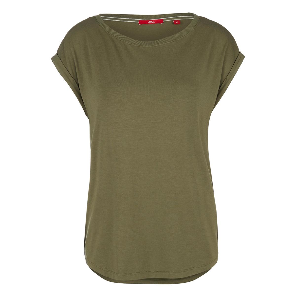 viscose shirt met geribde rand 14004325091 s.oliver t-shirt 7810