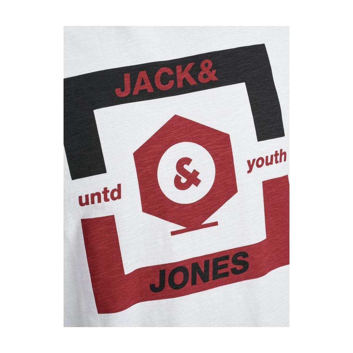 jcostrong tee ss crew neck 12165672 jack & jones t-shirt white/slim/big