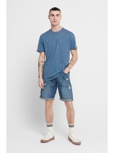 onskrister slim ss aop tee 22016897 only & sons t-shirt dark blue