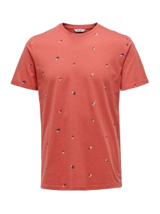 onskrister slim ss aop tee 22016897 only & sons t-shirt cranberry
