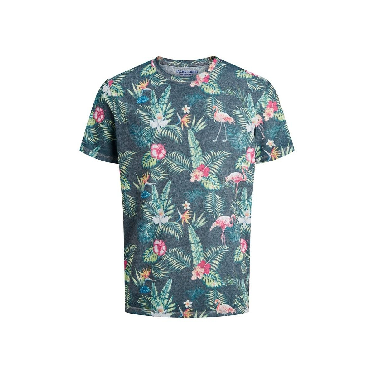 jortropicalbirds tee ss crew neck 12173071 jack & jones t-shirt blue depths