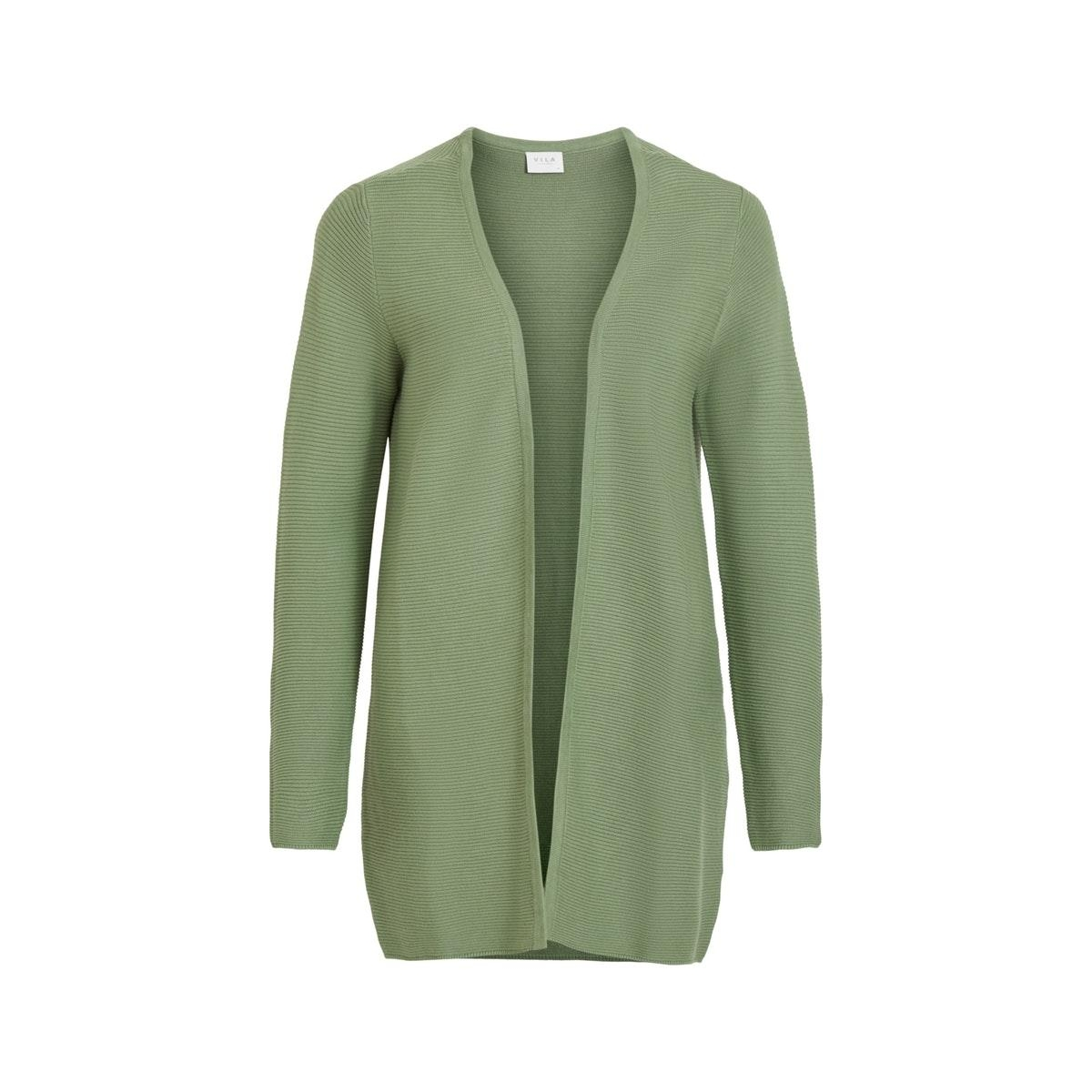 vilalaine  l/s long knit cardigan - 14055942 vila vest loden frost