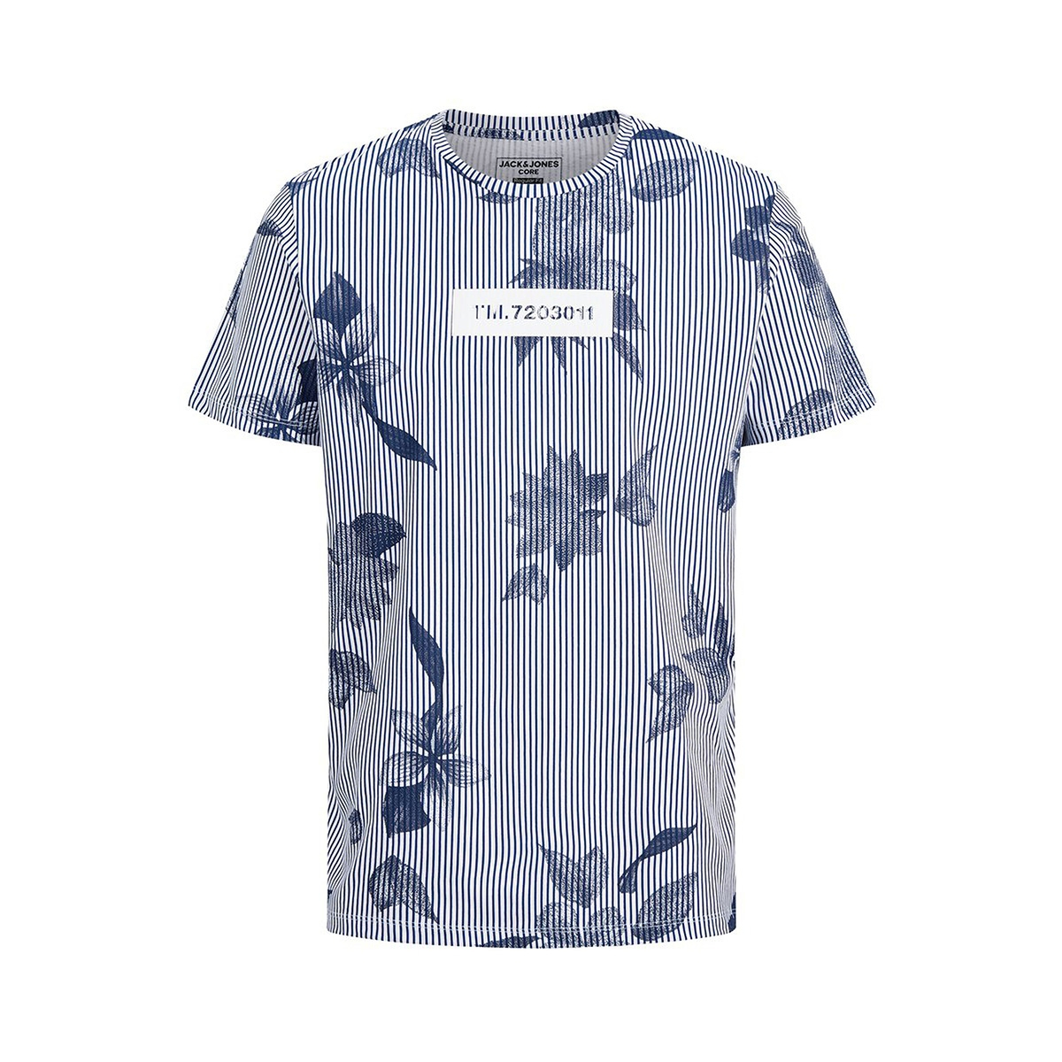 jcoflower tee ss crew neck 12173006 jack & jones t-shirt navy peony