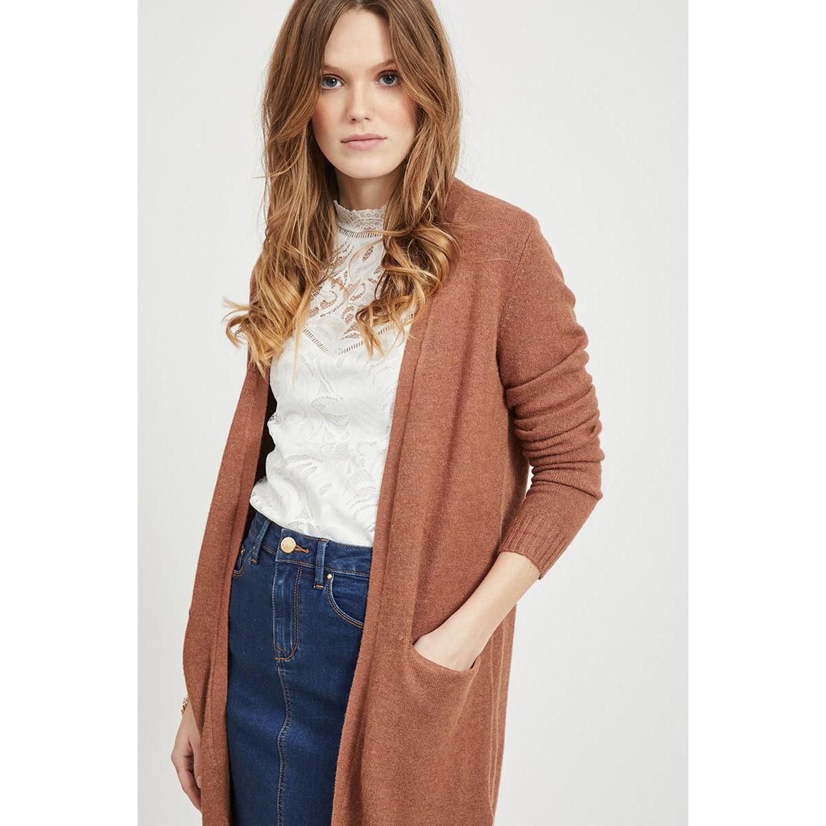 viril long l/s  knit cardigan - noo 14042770 vila vest rawhide/melange