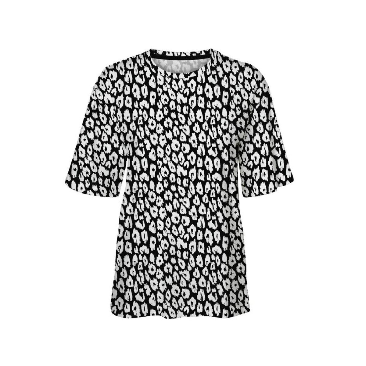vmfelice s/s leo aop t-shirt exp 10240838 vero moda t-shirt snow white aop/ black leo