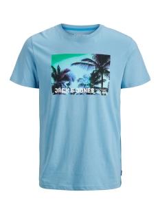 Jack & Jones T-shirt JCOPALM TEE SS CREW  NECK 12171480 Dusk Blue