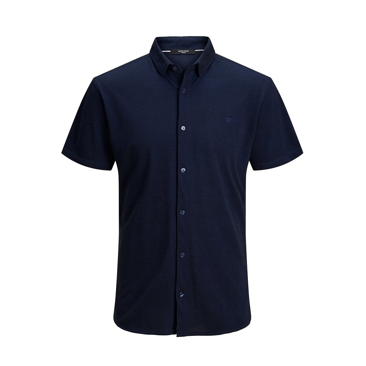 jprjace bla. ss jersey shirt 12171636 jack & jones overhemd blue depths