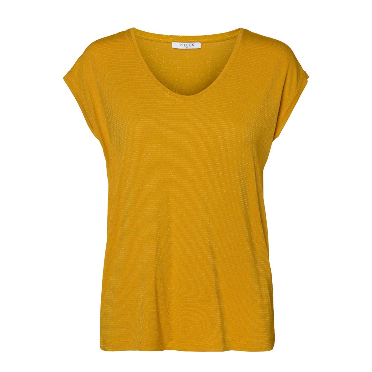 pcbillo tee lurex stripes noos 17078572 pieces t-shirt nugget gold/gold lurex